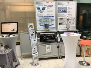Messestand mit Informationsmaterial von FusionSystems